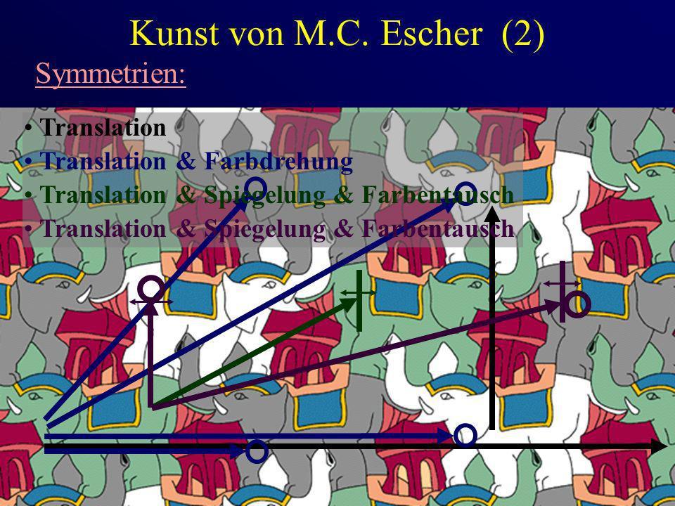 Kunst von M.C. Escher (2) Symmetrien: Translation Translation & Farbdrehung Translation & Spiegelung & Farbentausch