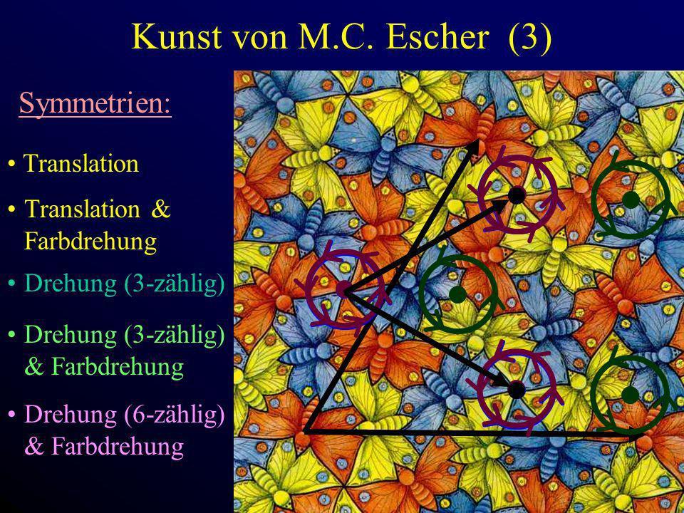 Kunst von M.C. Escher (3) Symmetrien: Translation Drehung (3-zählig) Drehung (3-zählig) & Farbdrehung Drehung (6-zählig) & Farbdrehung Translation & F