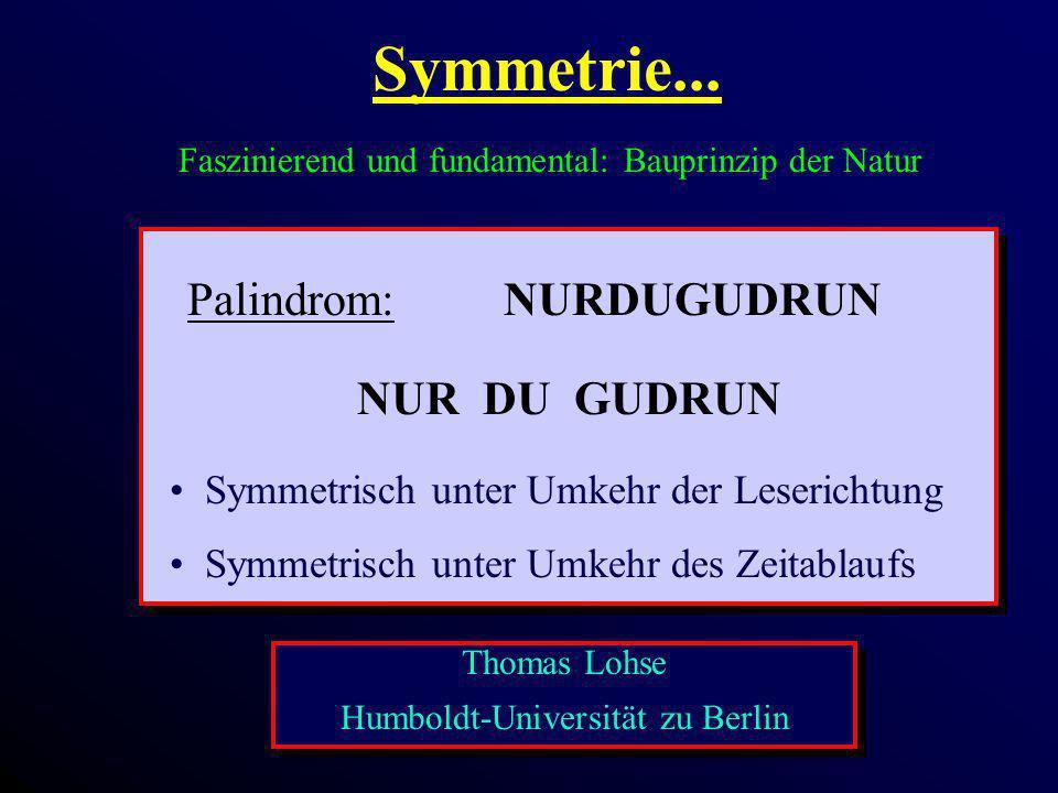 Symmetrie... Faszinierend und fundamental: Bauprinzip der Natur NUR DU GUDRUN Palindrom:NURDUGUDRUN Symmetrisch unter Umkehr der Leserichtung Symmetri