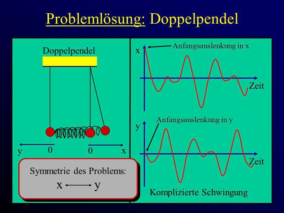 Problemlösung: Doppelpendel x Zeit 0 x Doppelpendel 0 y y Zeit Komplizierte Schwingung Anfangsauslenkung in x Anfangsauslenkung in y Symmetrie des Pro