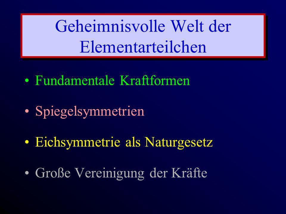 Geheimnisvolle Welt der Elementarteilchen Fundamentale Kraftformen Spiegelsymmetrien Eichsymmetrie als Naturgesetz Große Vereinigung der Kräfte