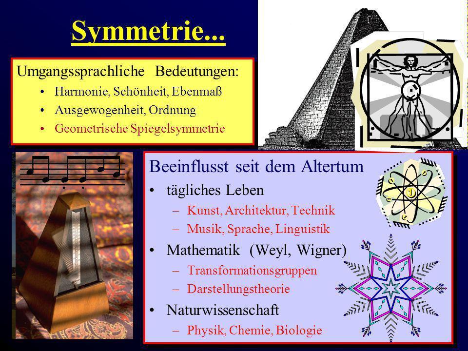 Symmetrie... Beeinflusst seit dem Altertum tägliches Leben –Kunst, Architektur, Technik –Musik, Sprache, Linguistik Mathematik (Weyl, Wigner) –Transfo