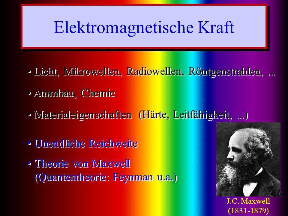 Elektromagnetische Kraft Licht, Mikrowellen, Radiowellen, Röntgenstrahlen,... Atombau, Chemie Materialeigenschaften (Härte, Leitfähigkeit,...) Unendli