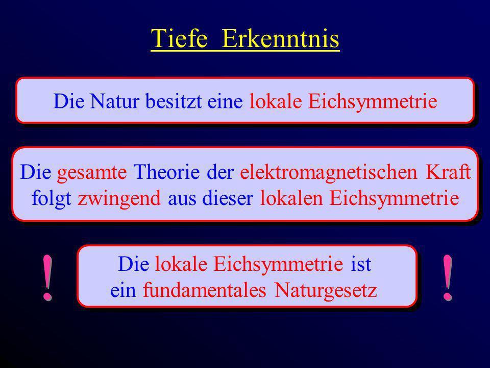 Tiefe Erkenntnis Die Natur besitzt eine lokale Eichsymmetrie Die gesamte Theorie der elektromagnetischen Kraft folgt zwingend aus dieser lokalen Eichs