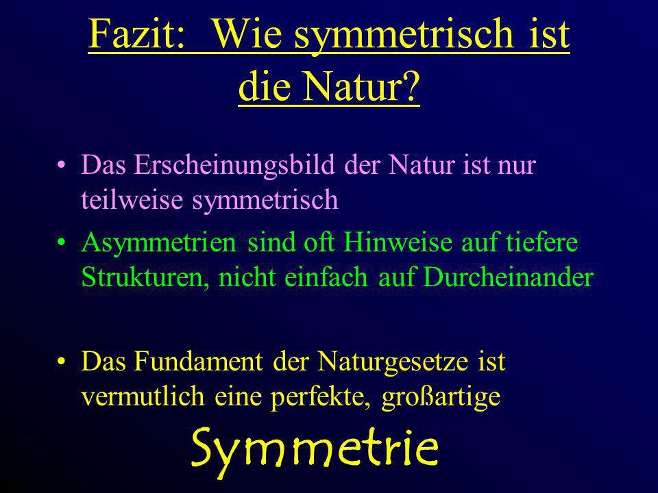 Fazit: Wie symmetrisch ist die Natur? Das Erscheinungsbild der Natur ist nur teilweise symmetrisch Asymmetrien sind oft Hinweise auf tiefere Strukture