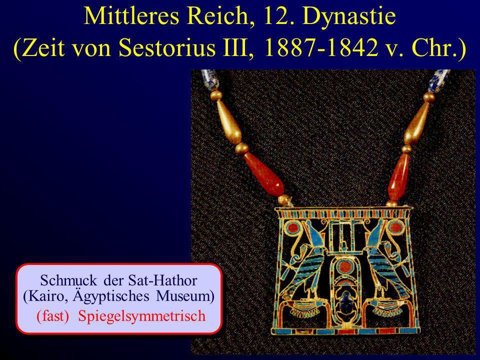 Mittleres Reich, 12. Dynastie (Zeit von Sestorius III, 1887-1842 v. Chr.) Schmuck der Sat-Hathor (Kairo, Ägyptisches Museum) (fast) Spiegelsymmetrisch