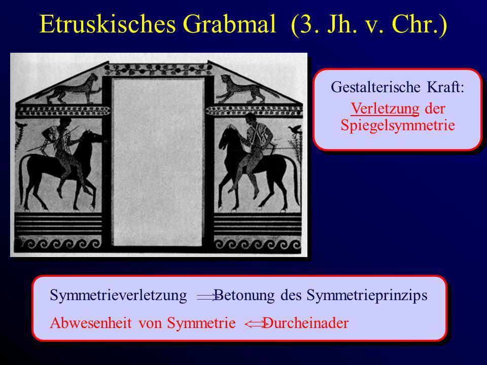 Etruskisches Grabmal (3. Jh. v. Chr.) Gestalterische Kraft: Verletzung der Spiegelsymmetrie Symmetrieverletzung Betonung des Symmetrieprinzips Abwesen