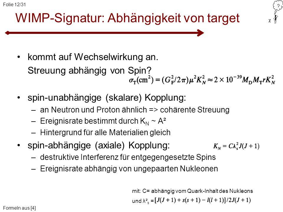 ? Folie 12/31 WIMP-Signatur: Abhängigkeit von target mit: C= abhängig vom Quark-Inhalt des Nukleons und λ² s = kommt auf Wechselwirkung an. Streuung a
