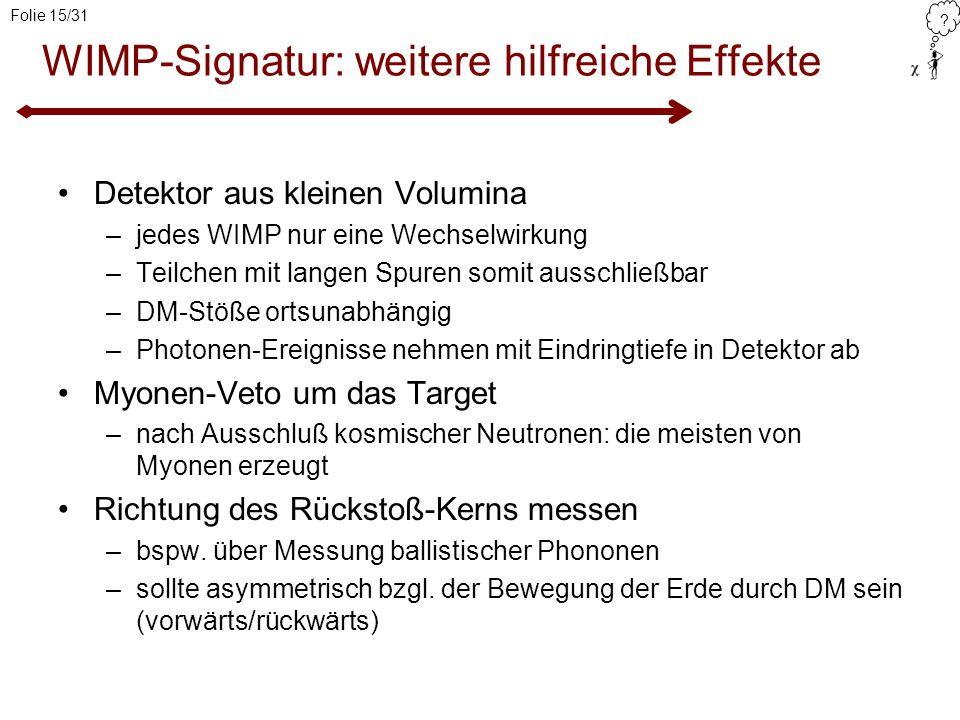 ? Folie 15/31 WIMP-Signatur: weitere hilfreiche Effekte Detektor aus kleinen Volumina –jedes WIMP nur eine Wechselwirkung –Teilchen mit langen Spuren