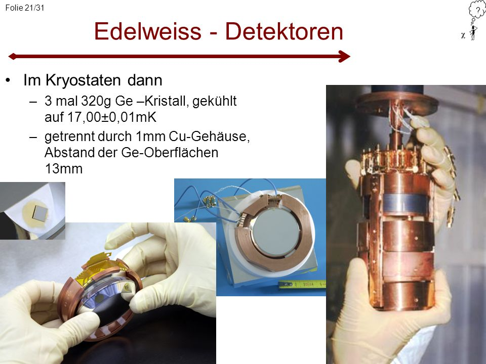 ? Folie 21/31 Edelweiss - Detektoren Im Kryostaten dann –3 mal 320g Ge –Kristall, gekühlt auf 17,00±0,01mK –getrennt durch 1mm Cu-Gehäuse, Abstand der