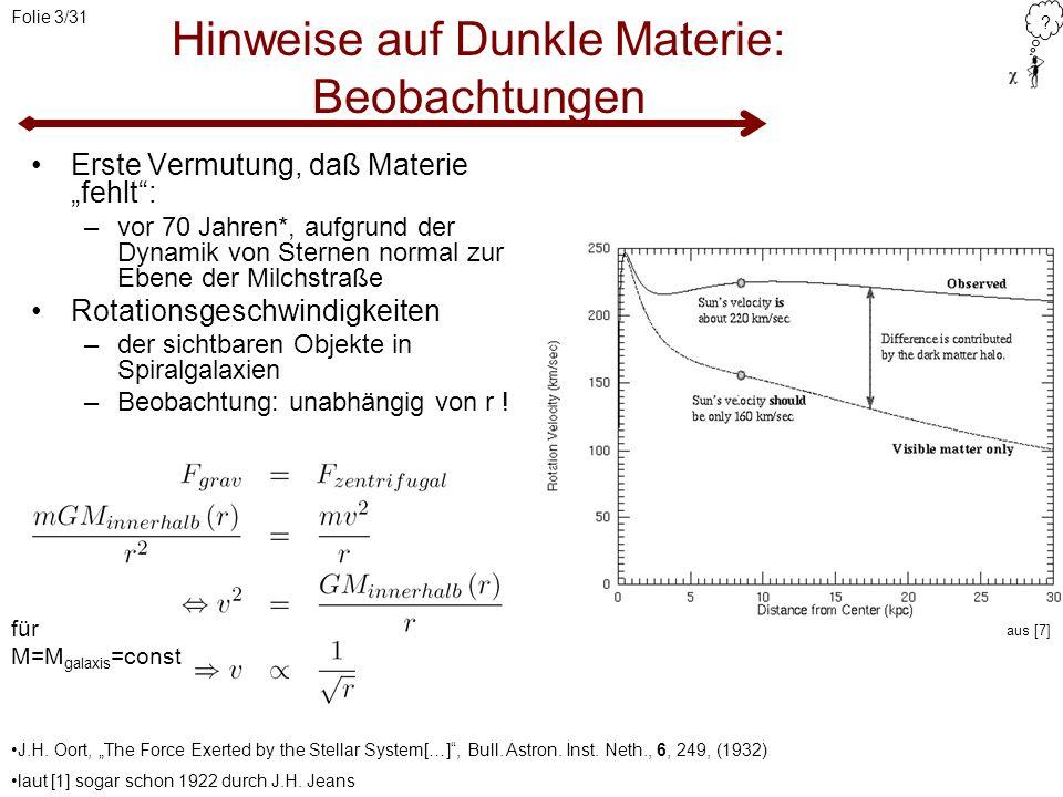 ? Folie 3/31 Hinweise auf Dunkle Materie: Beobachtungen Erste Vermutung, daß Materie fehlt: –vor 70 Jahren*, aufgrund der Dynamik von Sternen normal z