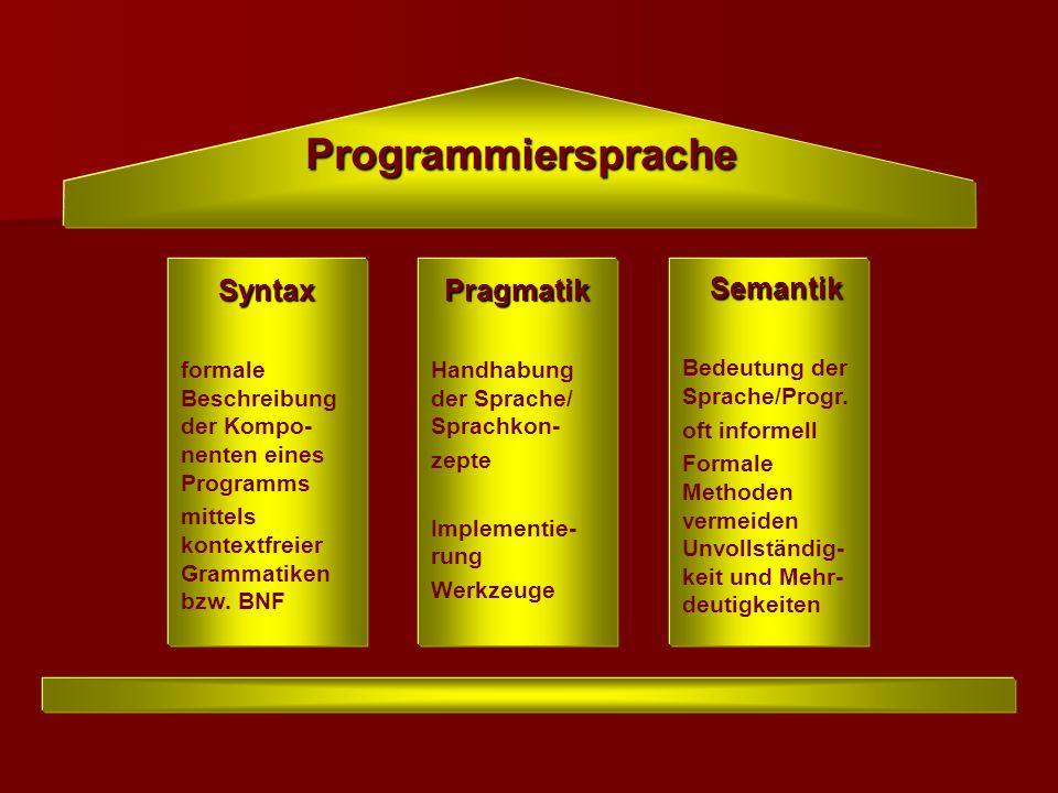 Programmiersprache Syntax formale Beschreibung der Kompo- nenten eines Programms mittels kontextfreier Grammatiken bzw. BNFPragmatik Handhabung der Sp