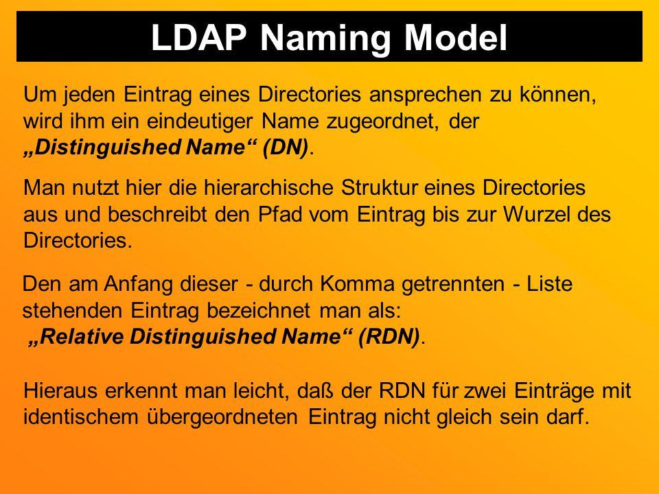LDAP Naming Model Um jeden Eintrag eines Directories ansprechen zu können, wird ihm ein eindeutiger Name zugeordnet, der Distinguished Name (DN).