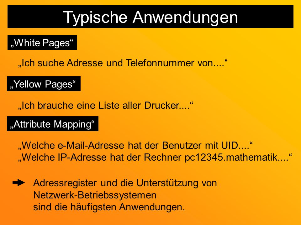 Typische Anwendungen White Pages Ich suche Adresse und Telefonnummer von....