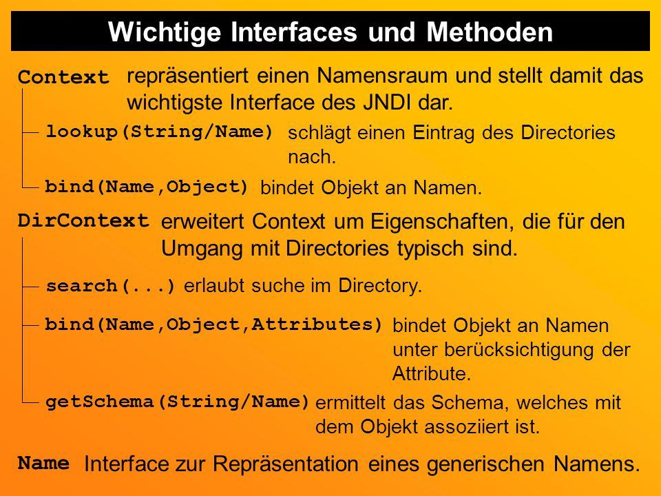 Wichtige Interfaces und Methoden Context repräsentiert einen Namensraum und stellt damit das wichtigste Interface des JNDI dar.