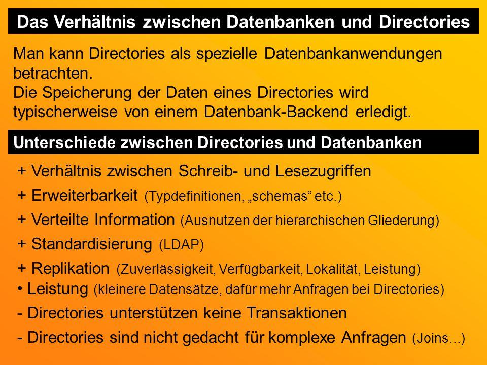 Das Verhältnis zwischen Datenbanken und Directories Man kann Directories als spezielle Datenbankanwendungen betrachten.