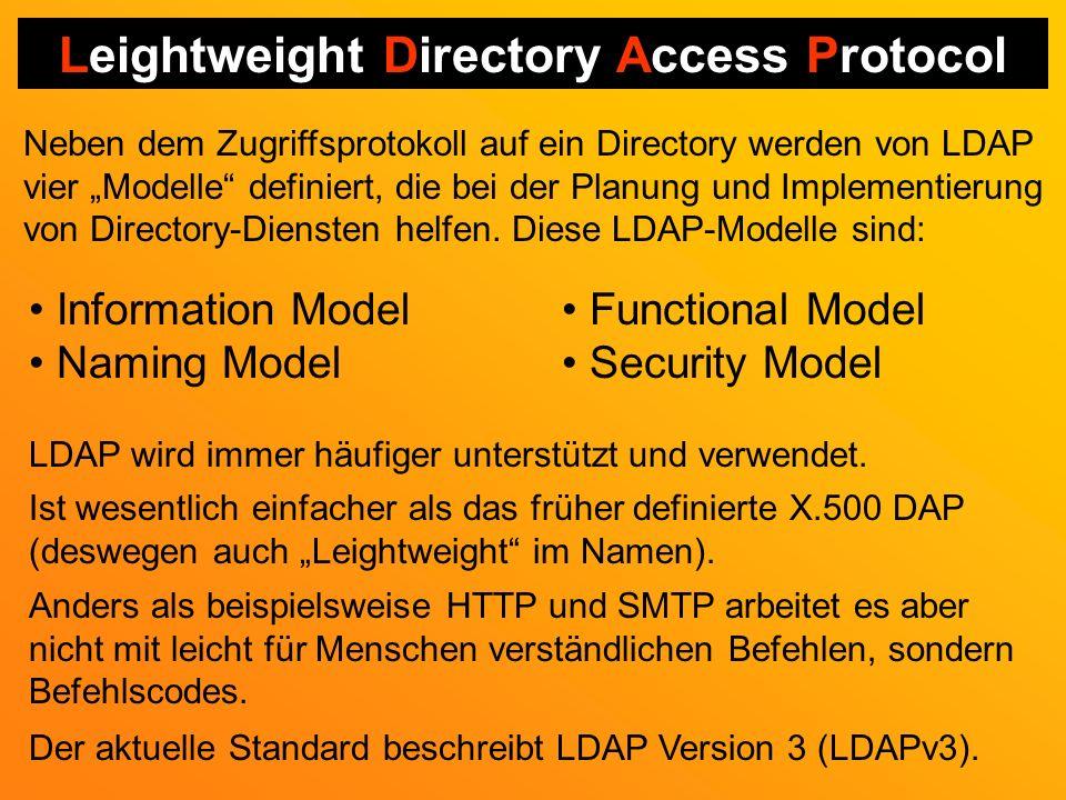 Leightweight Directory Access Protocol Neben dem Zugriffsprotokoll auf ein Directory werden von LDAP vier Modelle definiert, die bei der Planung und Implementierung von Directory-Diensten helfen.