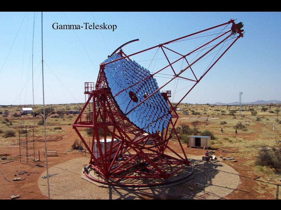 Die Gamma-Strahlen von diesen Objekten erzeugen kurze Blitze in der Luft hoch über den Teleskopen