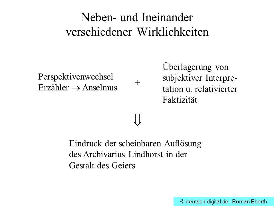 © deutsch-digital.de - Roman Eberth Neben- und Ineinander verschiedener Wirklichkeiten Perspektivenwechsel Erzähler Anselmus Überlagerung von subjekti