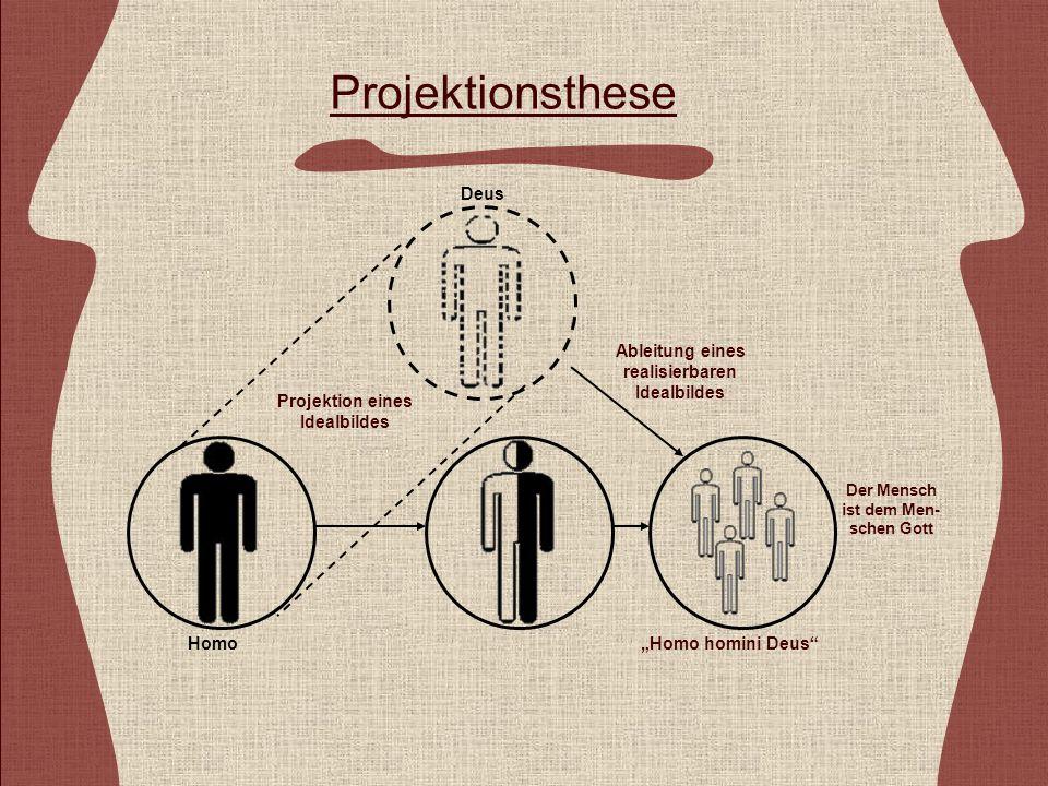 Projektionsthese Projektion eines Idealbildes HomoHomo homini Deus Der Mensch ist dem Men- schen Gott Ableitung eines realisierbaren Idealbildes Deus