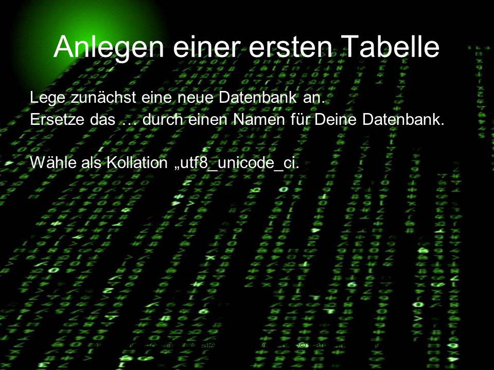 http://www.informatik.digitale-schule-bayern.de/ © Katharina Brachmann Anlegen einer ersten Tabelle Lege zunächst eine neue Datenbank an. Ersetze das