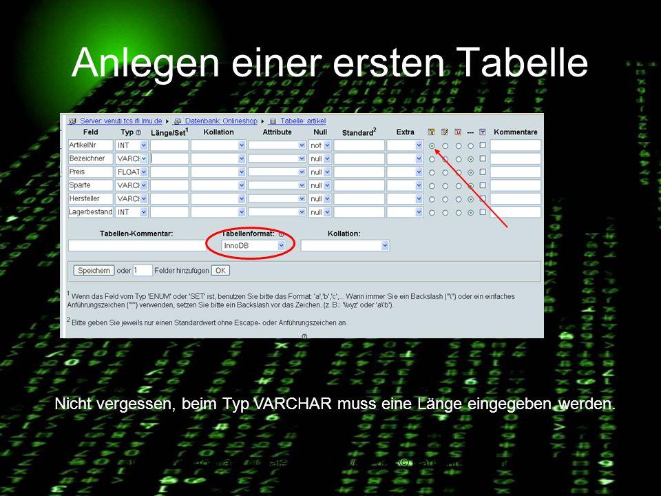http://www.informatik.digitale-schule-bayern.de/ © Katharina Brachmann Anlegen einer ersten Tabelle Nicht vergessen, beim Typ VARCHAR muss eine Länge