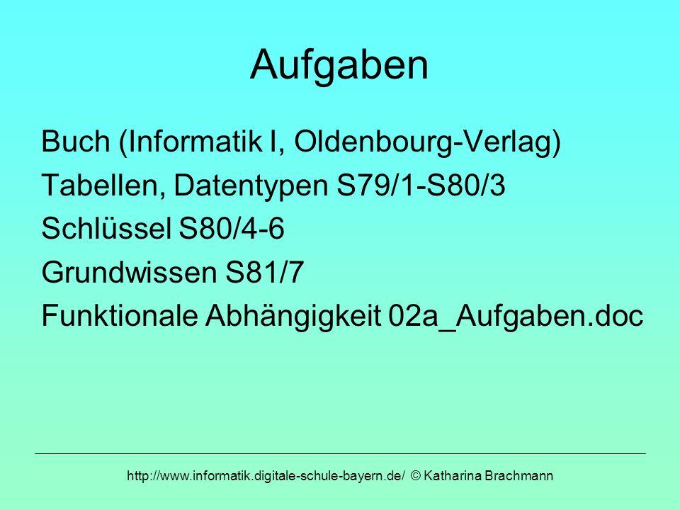 http://www.informatik.digitale-schule-bayern.de/ © Katharina Brachmann Aufgaben Buch (Informatik I, Oldenbourg-Verlag) Tabellen, Datentypen S79/1-S80/