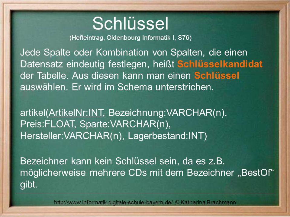 http://www.informatik.digitale-schule-bayern.de/ © Katharina Brachmann Schlüssel (Hefteintrag, Oldenbourg Informatik I, S76) Jede Spalte oder Kombinat