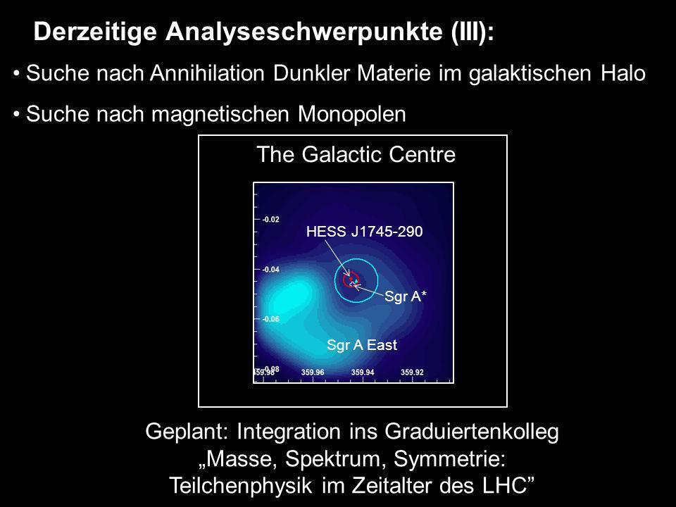 Suche nach Annihilation Dunkler Materie im galaktischen Halo Suche nach magnetischen Monopolen Derzeitige Analyseschwerpunkte (III): The Galactic Cent