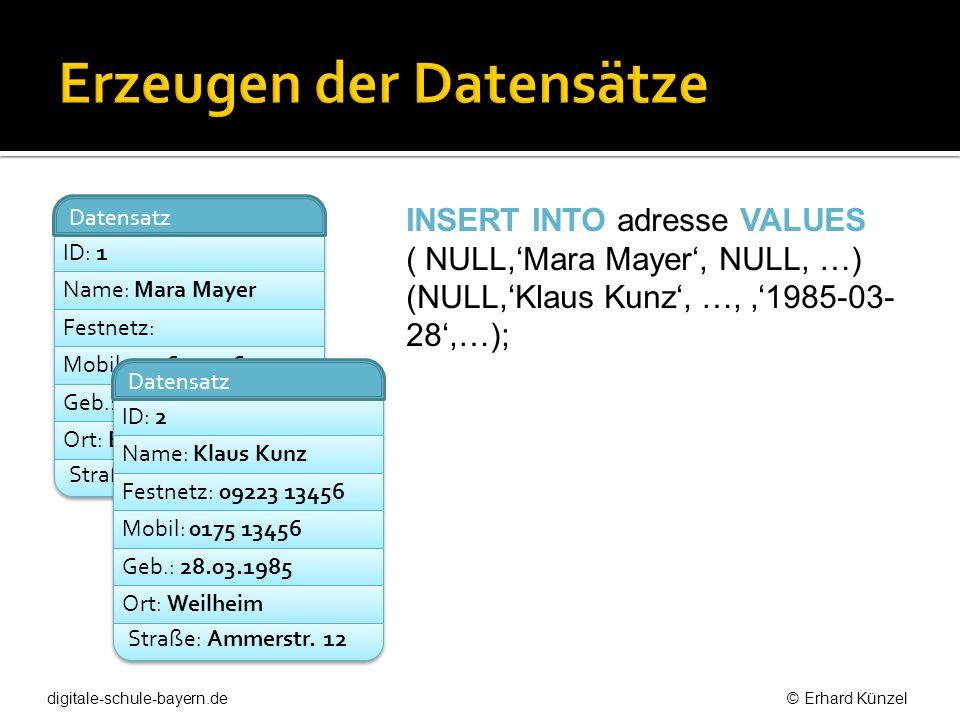 ID: 1 Datensatz Name: Mara Mayer Festnetz: Mobil: 0176 23456 Geb.: 20.02.1987 Ort: Eberfing Straße: Schusterstr. 12 ID: 2 Datensatz Name: Klaus Kunz F