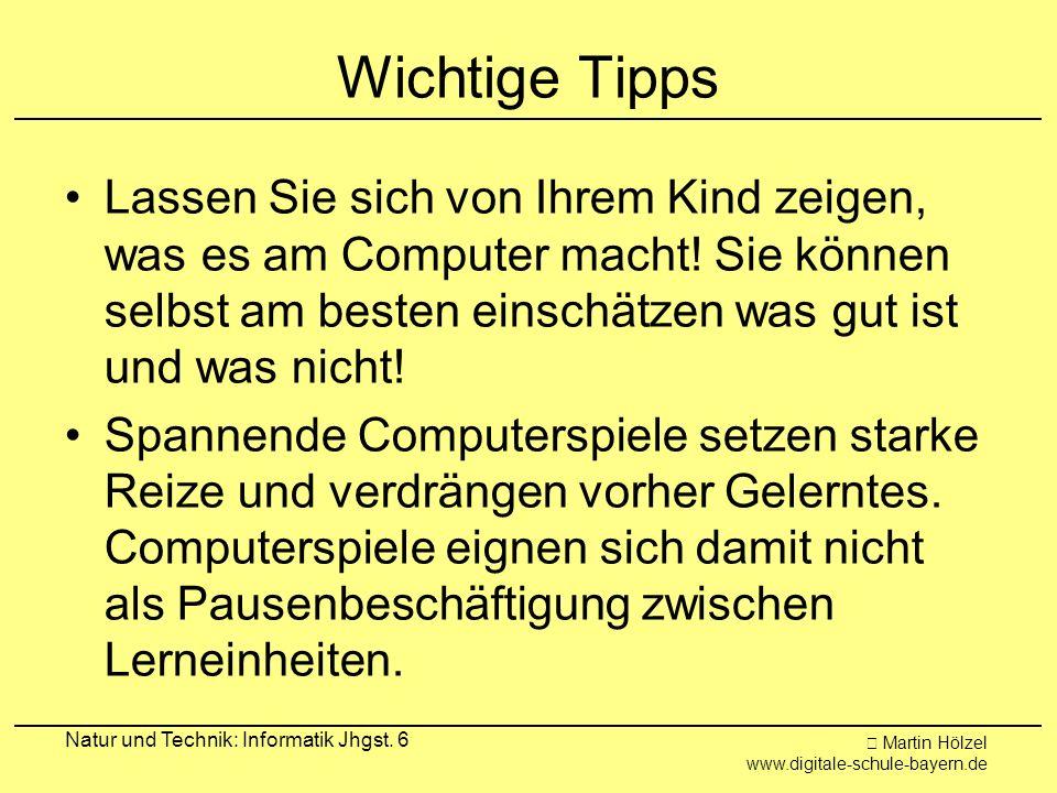 Martin Hölzel www.digitale-schule-bayern.de Natur und Technik: Informatik Jhgst. 6 Wichtige Tipps Lassen Sie sich von Ihrem Kind zeigen, was es am Com