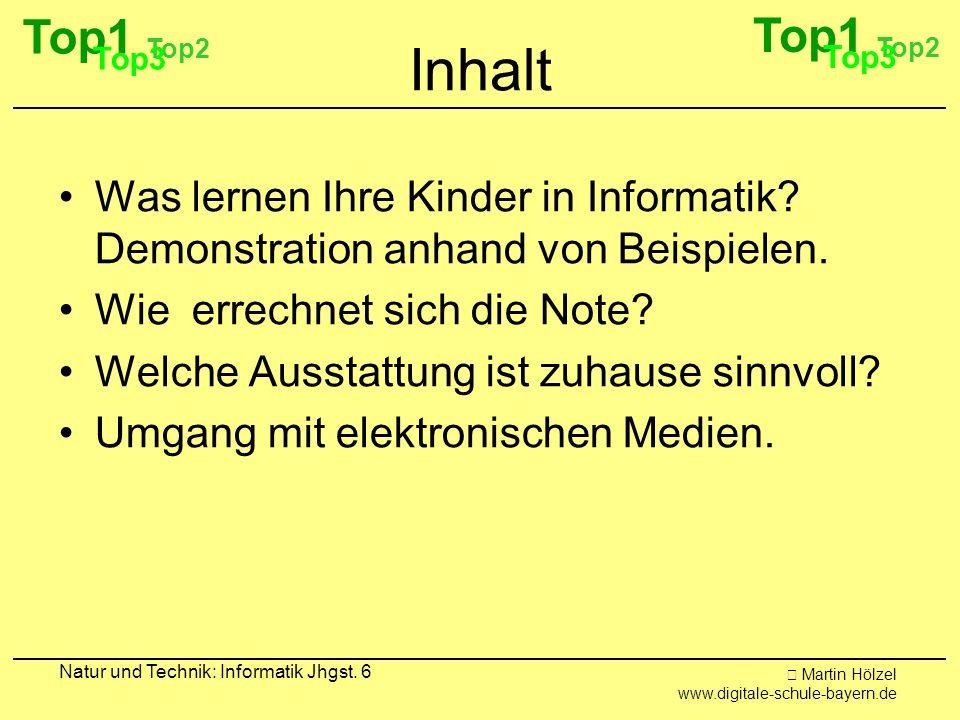 Martin Hölzel www.digitale-schule-bayern.de Natur und Technik: Informatik Jhgst. 6 Inhalt Was lernen Ihre Kinder in Informatik? Demonstration anhand v