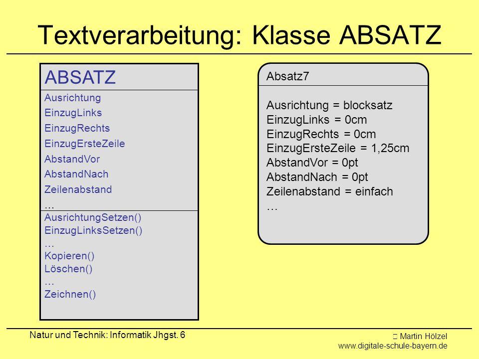 Martin Hölzel www.digitale-schule-bayern.de Natur und Technik: Informatik Jhgst. 6 Textverarbeitung: Klasse ABSATZ ABSATZ Ausrichtung EinzugLinks Einz