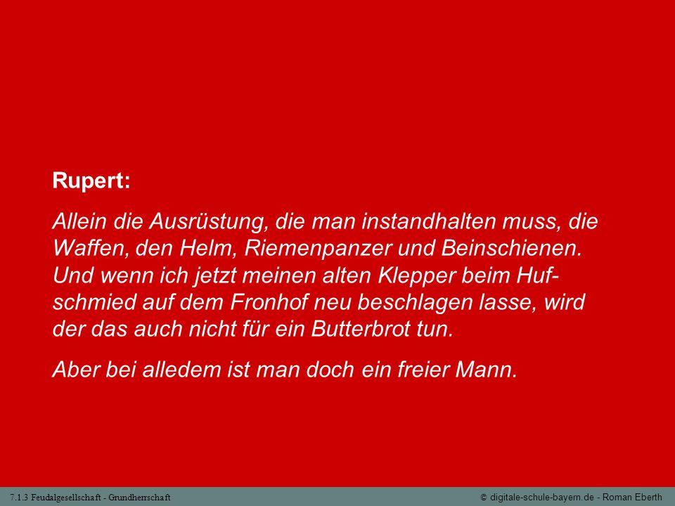 7.1.3 Feudalgesellschaft - Grundherrschaft© digitale-schule-bayern.de - Roman Eberth Rupert: Allein die Ausrüstung, die man instandhalten muss, die Wa
