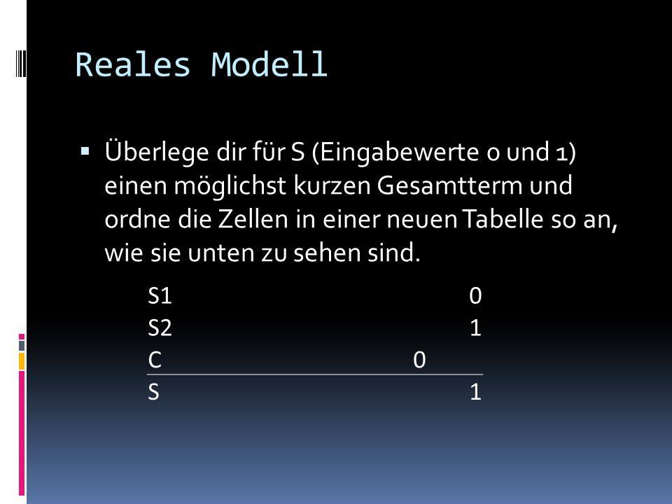 Reales Modell Überlege dir für S (Eingabewerte 0 und 1) einen möglichst kurzen Gesamtterm und ordne die Zellen in einer neuen Tabelle so an, wie sie u