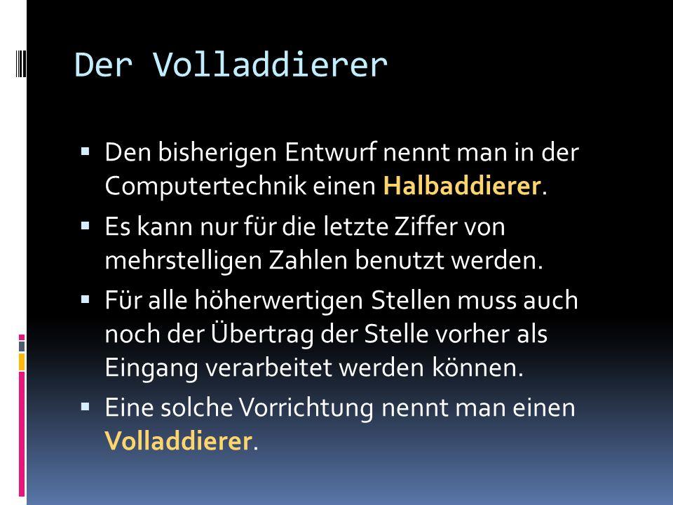 Wertetabelle Ein Volladdierer hat folgende Wertetabelle (Cn-1 bezeichnet den Übertrag der Stelle vorher): S1S2Cn-1SC 00000 00110 01010 10010 01101 10101 11001 11111