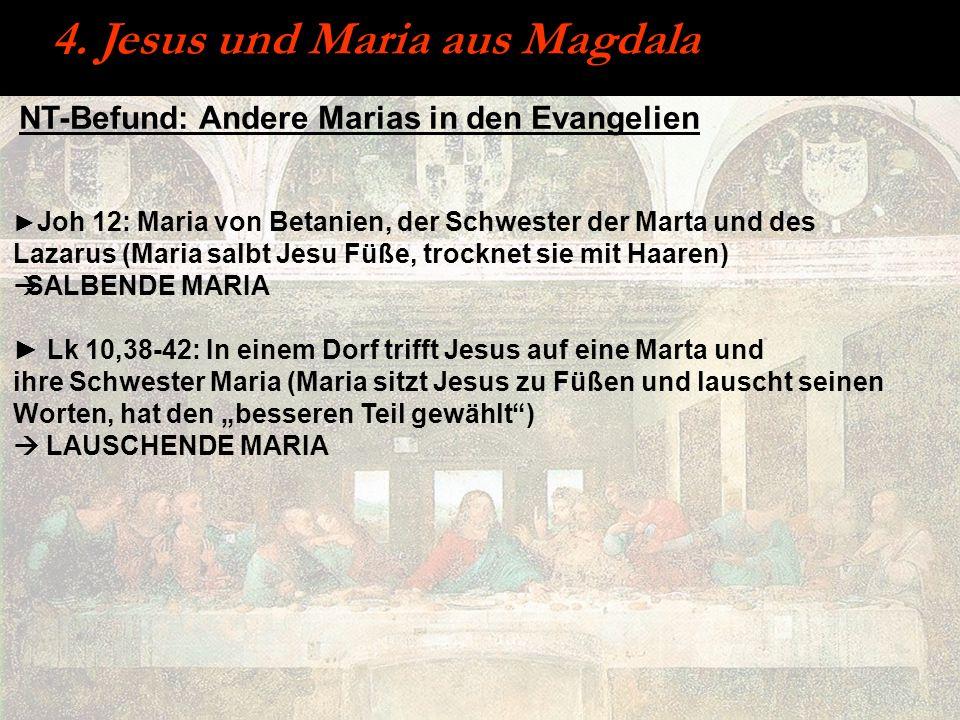 NT-Befund: Andere Marias in den Evangelien Joh 12: Maria von Betanien, der Schwester der Marta und des Lazarus (Maria salbt Jesu Füße, trocknet sie mi