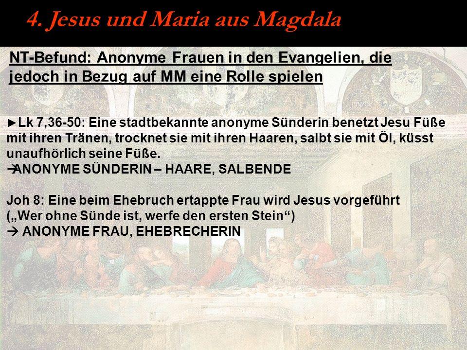 NT-Befund: Anonyme Frauen in den Evangelien, die jedoch in Bezug auf MM eine Rolle spielen Lk 7,36-50: Eine stadtbekannte anonyme Sünderin benetzt Jes