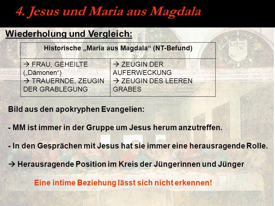 Wiederholung und Vergleich: 4. Jesus und Maria aus Magdala Bild aus den apokryphen Evangelien: - MM ist immer in der Gruppe um Jesus herum anzutreffen