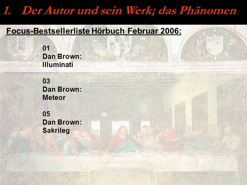 Focus-Bestsellerliste Hörbuch Februar 2006: 1. Der Autor und sein Werk; das Phänomen 01 Dan Brown: Illuminati 03 Dan Brown: Meteor 05 Dan Brown: Sakri