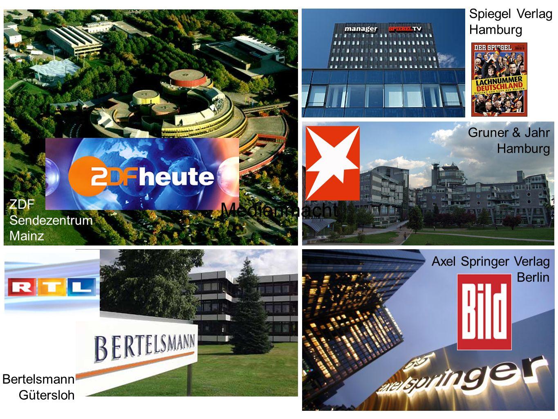 ZDF Sendezentrum Mainz Spiegel Verlag Hamburg Gruner & Jahr Hamburg Axel Springer Verlag Berlin Bertelsmann Gütersloh Medienmacht