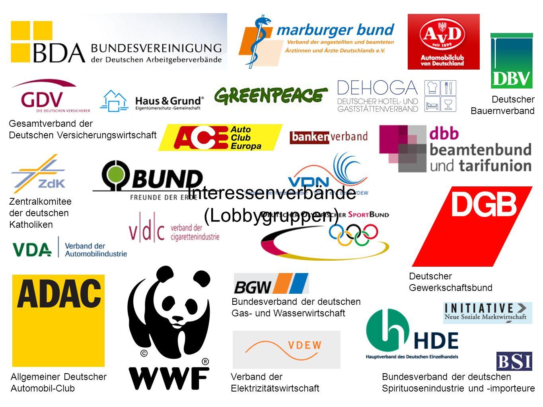 Deutscher Bauernverband Allgemeiner Deutscher Automobil-Club Gesamtverband der Deutschen Versicherungswirtschaft Deutscher Gewerkschaftsbund Verband d