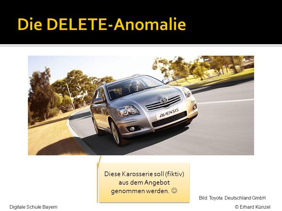 Diese Karosserie soll (fiktiv) aus dem Angebot genommen werden. Bild: Toyota Deutschland GmbH Digitale Schule Bayern© Erhard Künzel