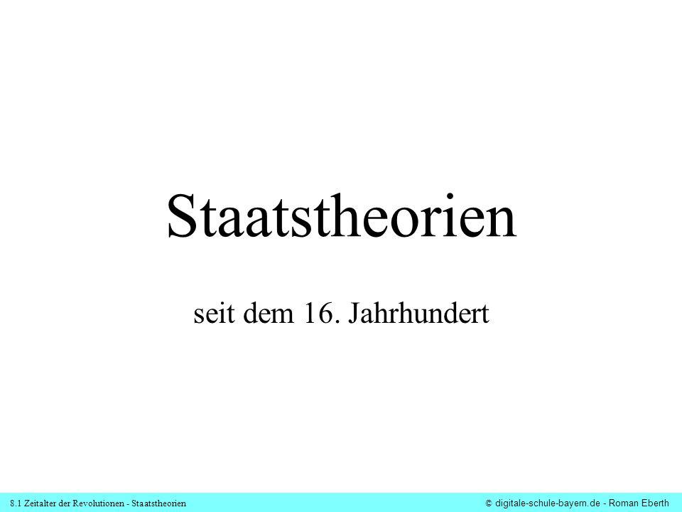 8.1 Zeitalter der Revolutionen - Staatstheorien© digitale-schule-bayern.de - Roman Eberth Staatstheorien seit dem 16. Jahrhundert