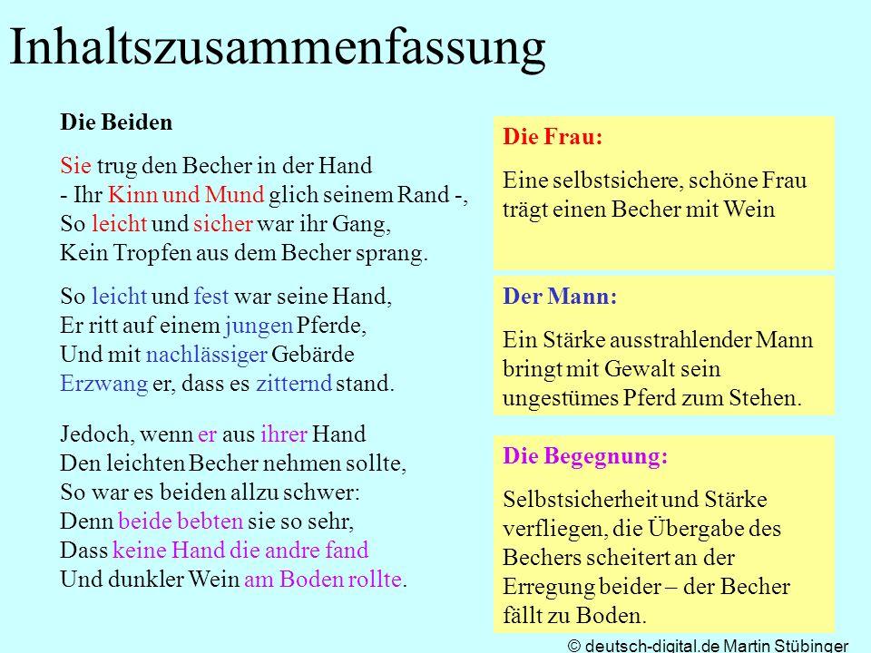 © deutsch-digital.de Martin Stübinger Die Beiden Sie trug den Becher in der Hand - Ihr Kinn und Mund glich seinem Rand -, So leicht und sicher war ihr