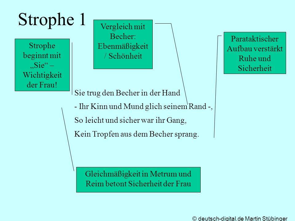 © deutsch-digital.de Martin Stübinger Strophe 1 Sie trug den Becher in der Hand - Ihr Kinn und Mund glich seinem Rand -, So leicht und sicher war ihr