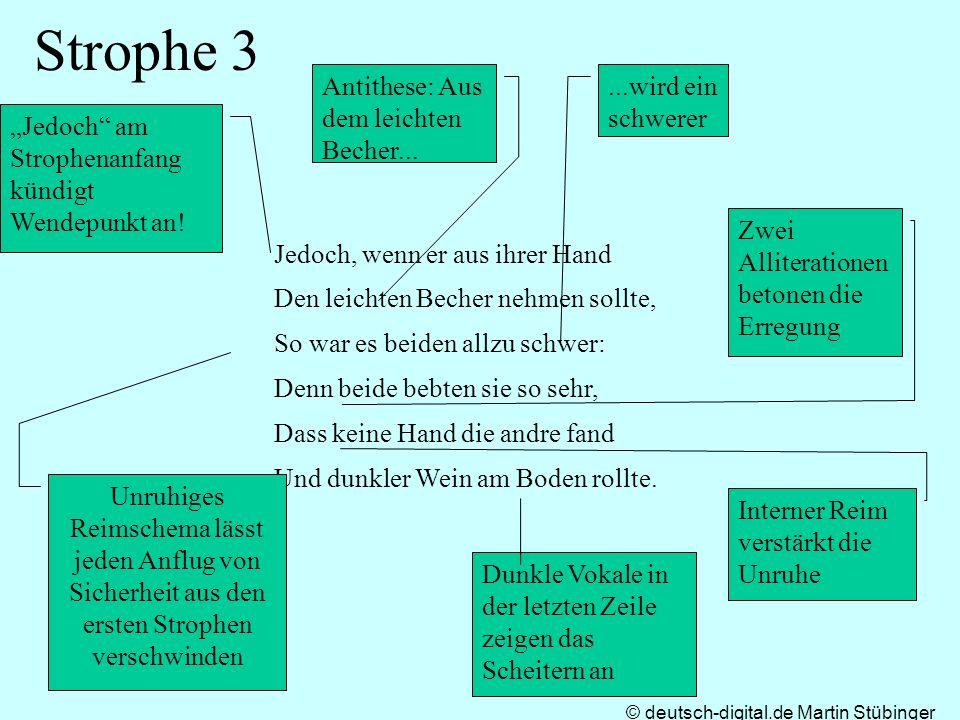 © deutsch-digital.de Martin Stübinger Strophe 3 Jedoch, wenn er aus ihrer Hand Den leichten Becher nehmen sollte, So war es beiden allzu schwer: Denn