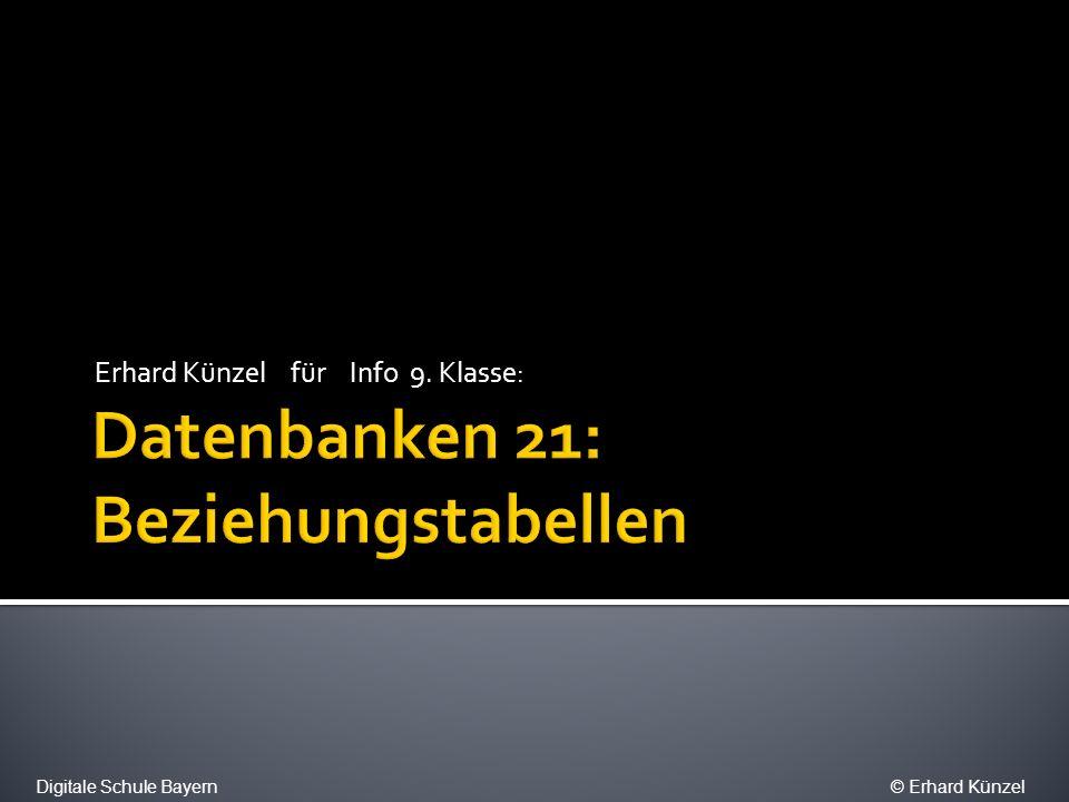 enthält > 9h … … Kevin … … Anna … … … … KLASSE … … SCHÜLER … … KLASSE FID: INT SID: INT _ENTHÄLT_ FID: INT … … SCHÜLER SID: INT SID: 1 Kevin … … FID: 5 9h … … FID: 5 _enthält_ SID: 1 FID: 5 _enthält_ SID: 6 Anna … … Digitale Schule Bayern© Erhard Künzel