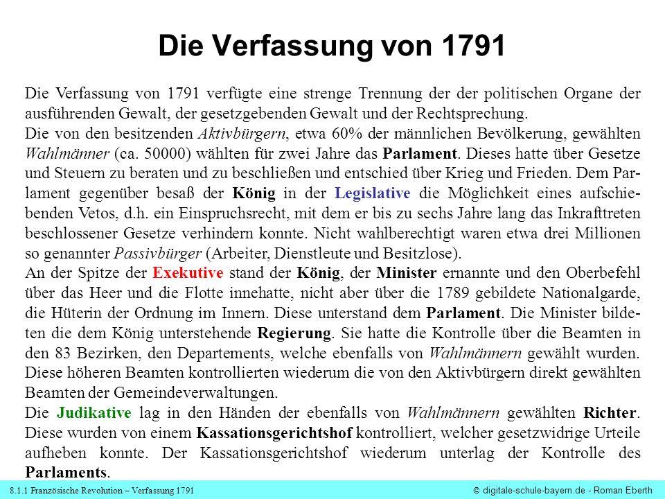 8.1.1 Französische Revolution – Verfassung 1791© digitale-schule-bayern.de - Roman Eberth Die Verfassung von 1791 verfügte eine strenge Trennung der d