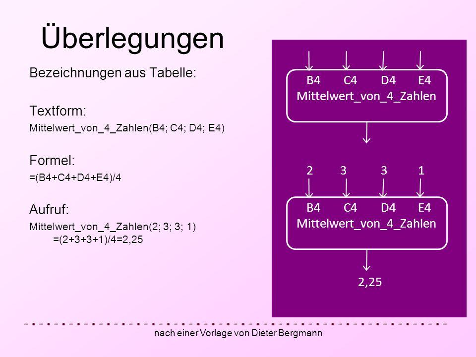 nach einer Vorlage von Dieter Bergmann Bezeichnungen aus Tabelle: Textform: Mittelwert_von_4_Zahlen(B4; C4; D4; E4) Formel: =(B4+C4+D4+E4)/4 Aufruf: M